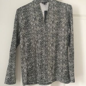 Talbots Med Black and White Top